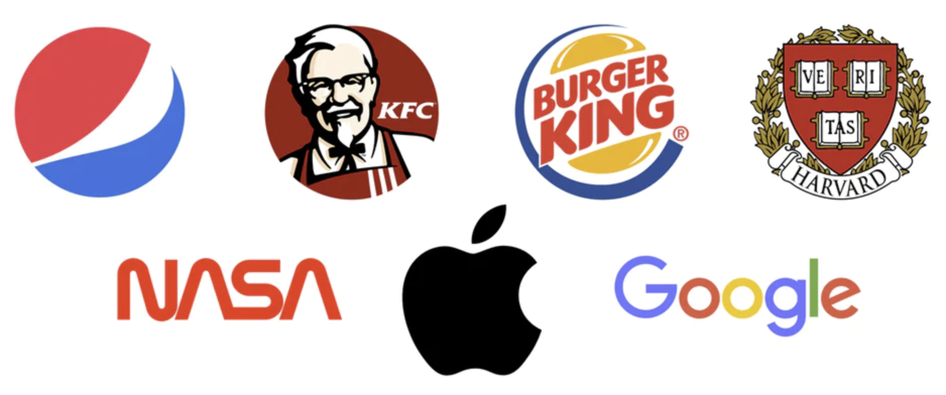 7 kända logotyper: Pepsi, KFC, Burger King, Harvard, Nasa, Apple och Google.